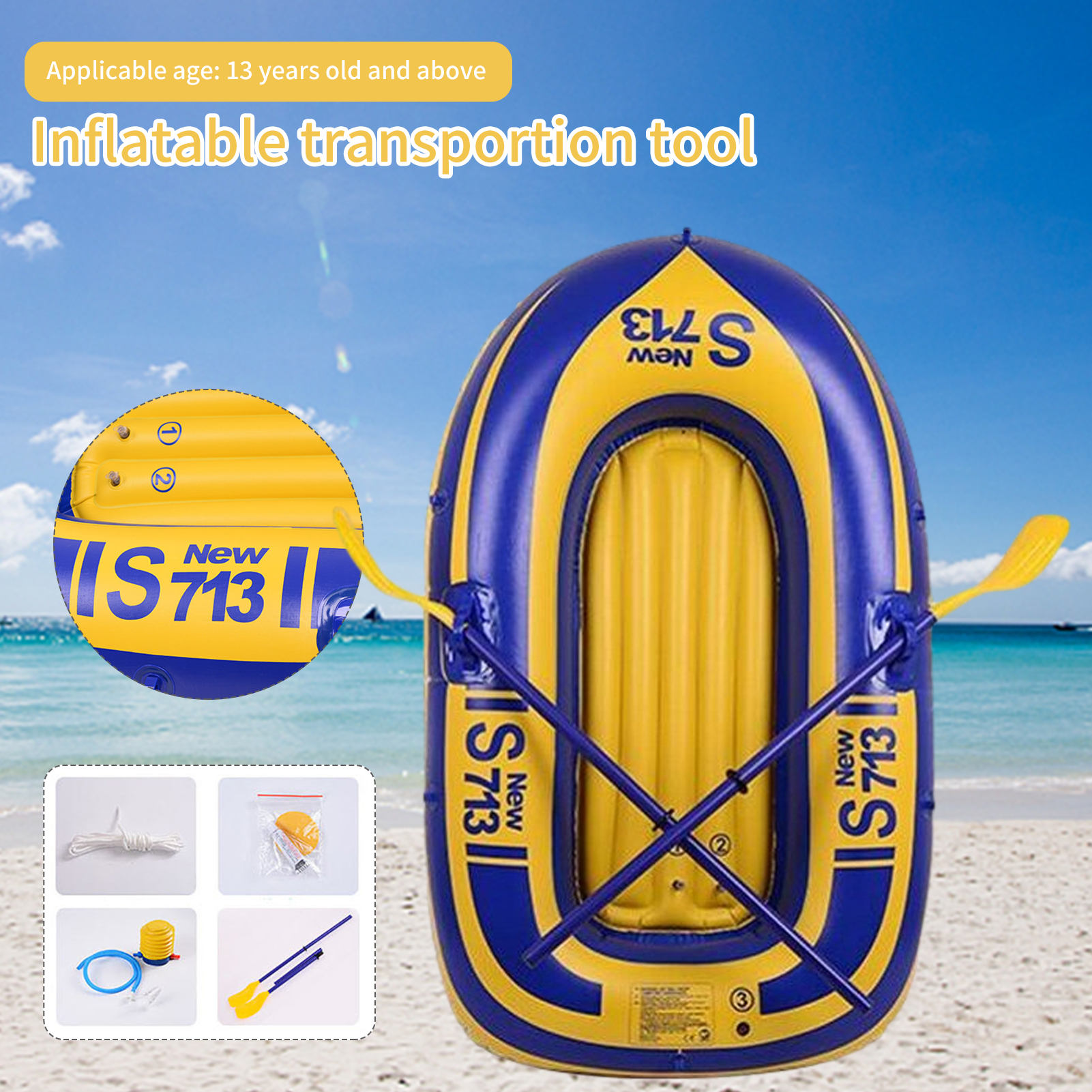 Kayak Thicken Safe Inflatable Boat For Single-person PVC Rowing Fishing Boat Kayak For Outdoor Driving Fishing Water Sports