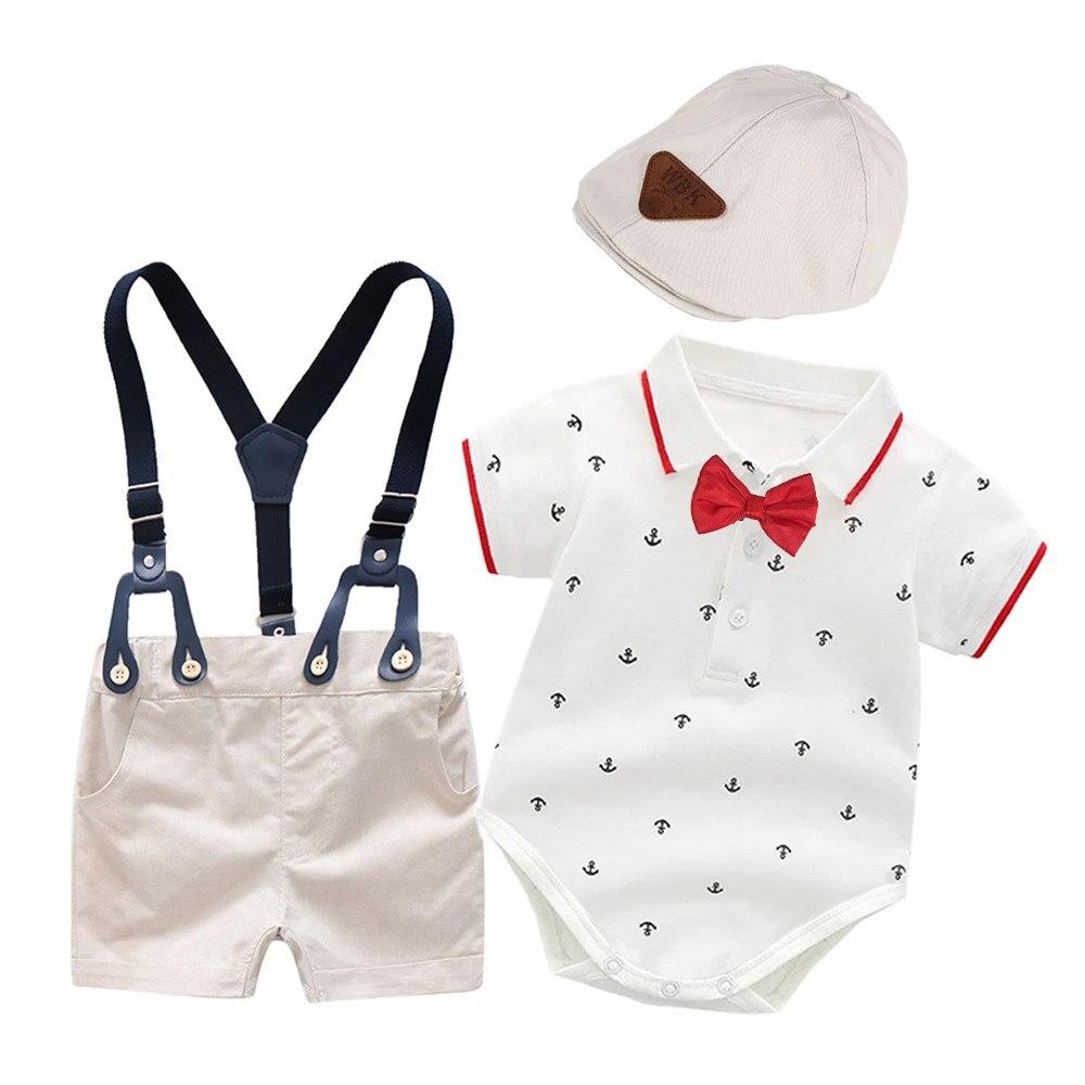 יילוד תינוק ילד תלבושות בגדי עניבת פרפר אחד יום הולדת מסיבת נאה תינוקות כותנה מודפס סרבל + מכנסיים קצרים בגדי ילדים חגורה