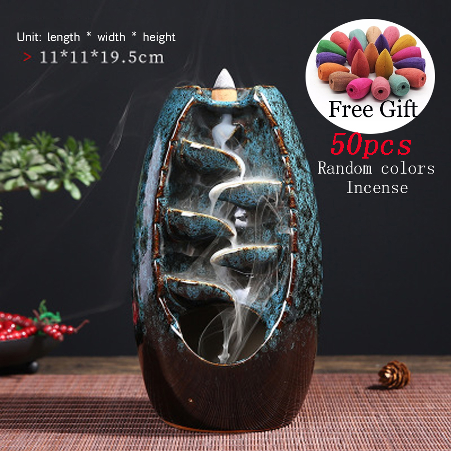 Backflow Incense Burner Waterfall Incense Holder Ceramic With 50  Incense Cones For Home Office Yoga Christmas Gift
