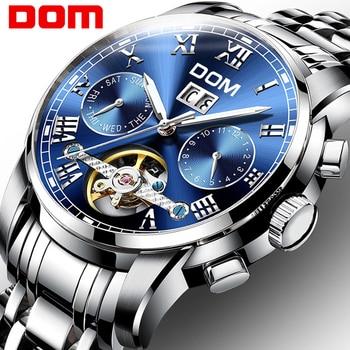 DOM Genuine Watch Men Automatic Mechanical Tourbillon Watch Luxury Fashion Stainless Steel Sport Watches Mens Relogio Masculino