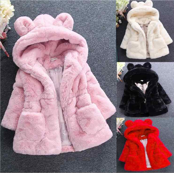 Kid Girls Fluffy Vest Winter Warm Hoodie Coat Fuax Fur Thick Princess Party 1-5Y
