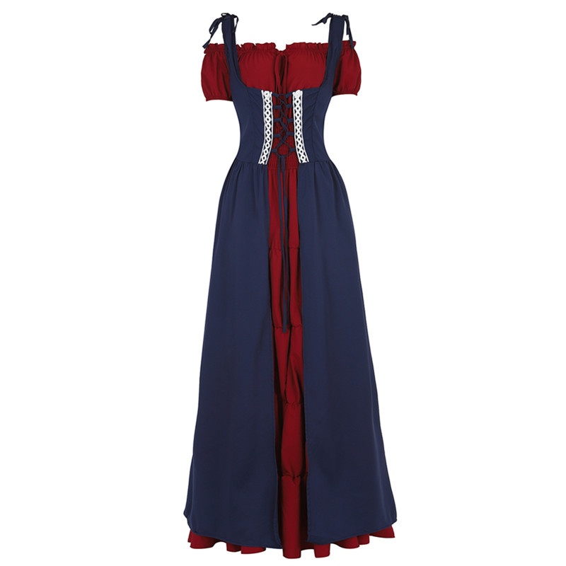 Women Renaissance Medieval Irish Costume Fitted Bodice Overdress Retro Chemise