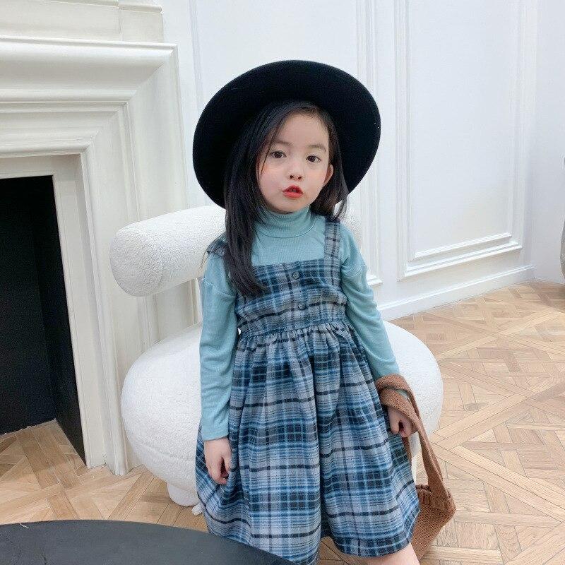 Girls Autumn Dress 2020 New Style Cotton Plaid Dresses Little Kids Children Plaid Suspender Princess Dress Fashion Sling Dress