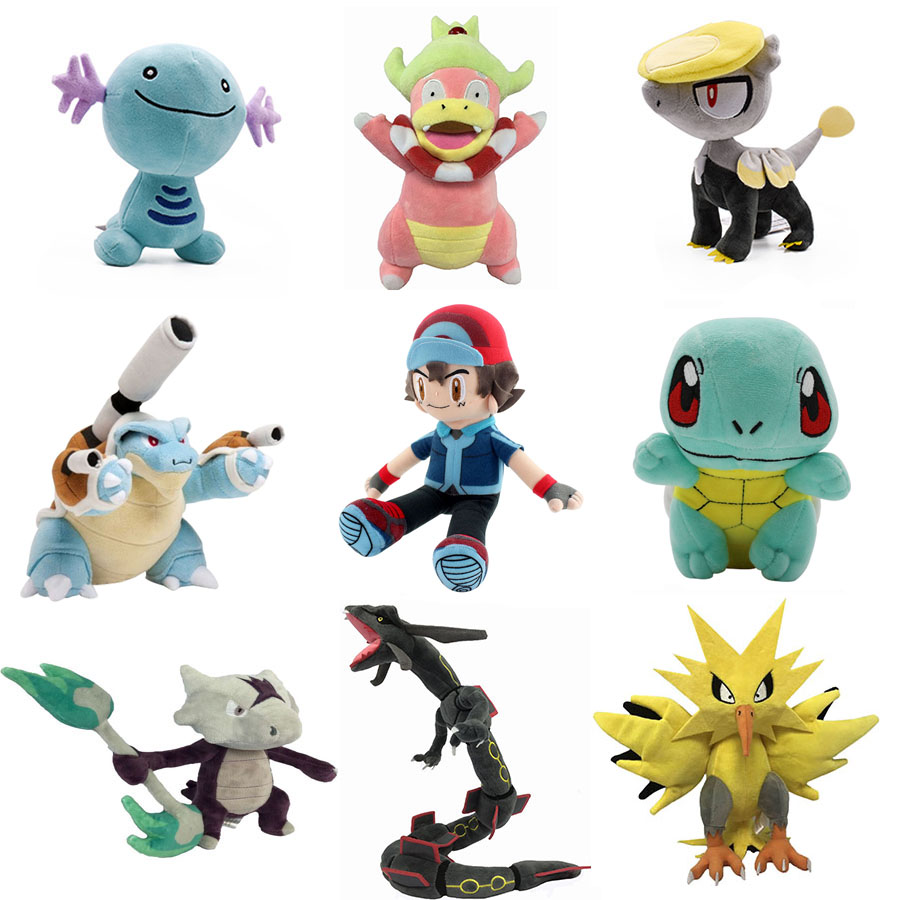 Cartoon Ash Ketchum Zapdos Squirtle Rayquaza Charmander Plush Toys Pokemones Stuffed Plush Doll Toys Gifts For Kids