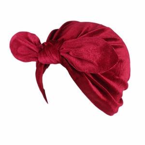 Image 5 - Fashion Women Bow bowknot Hijab Velvet Cap Chemo Hat Headband Muslim Turban Bandanas for Wedding Party Hair Accessories mujer