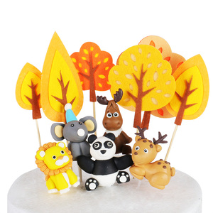 Image 5 - WEIGAO Boy Birthday Cake Decor Zoo Monkey Lion Jungle Party Cake Toppers Safari Birthday Theme Cupcake Wrappers Cake Flags Decor