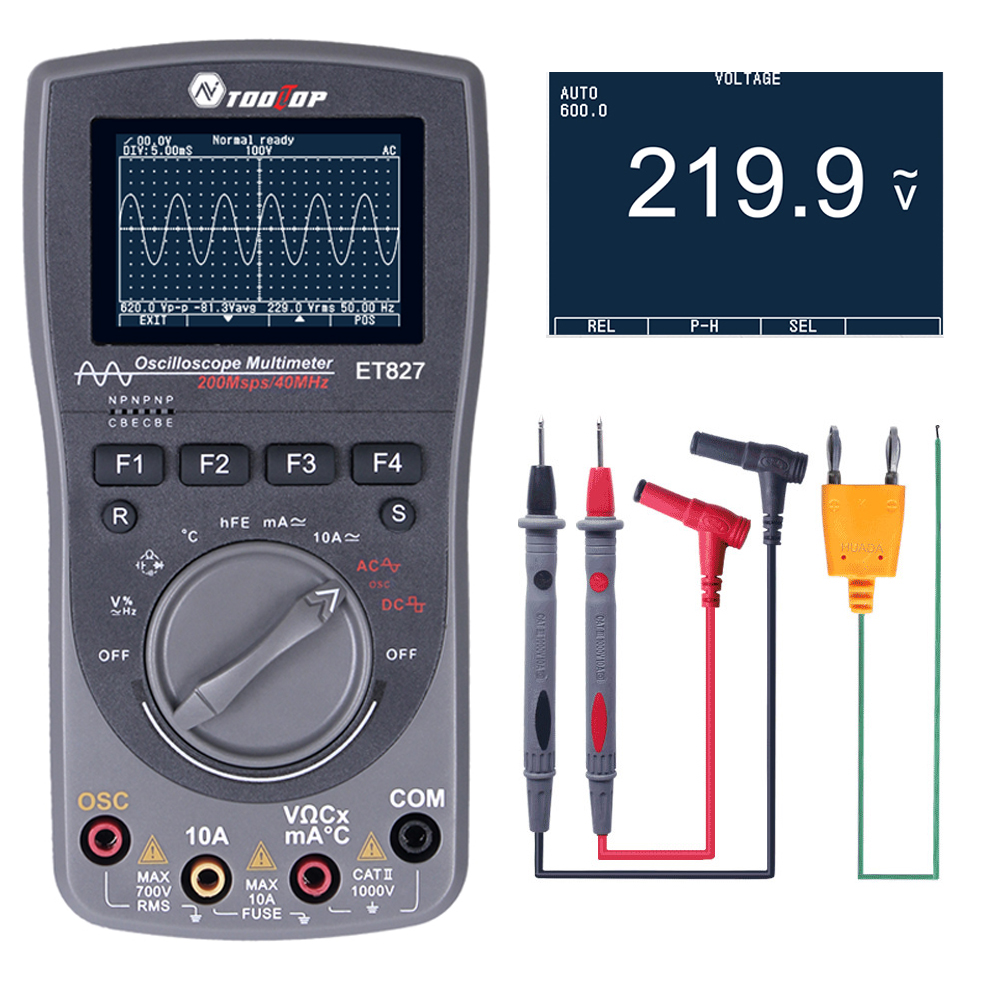 2 in 1 Intelligent Digital Storage Oscilloscope One Key AUTO Oscilloscop Tester Multimeter 40MHz 200Msps/S 6000Counts True RMS