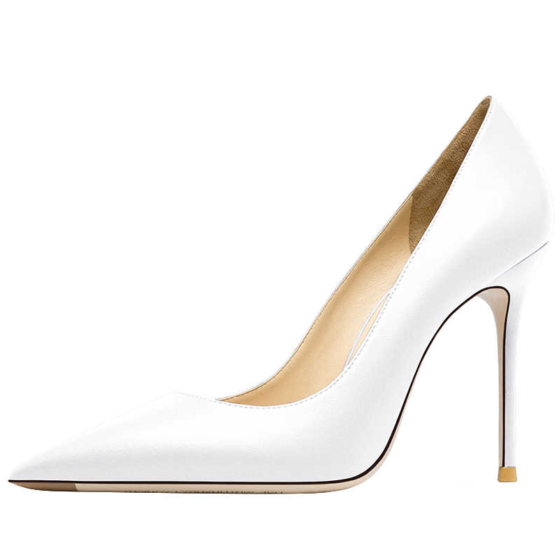 קלאסי לבן נשים סקסי משאבות קיץ נשים של עקבים גבוהים נעלי נעלי עקב רדוד אדום תחתון נעל עור אמיתי 12cm העקב