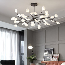Скандинавская светодиодный ная Люстра подвесная, стильная железная потолочная лампа в виде светлячков дерева, черного цвета, украшение для...