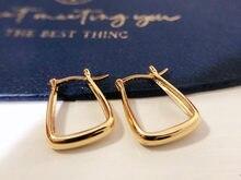 18K импортные однотонные желтые золотые ювелирные изделия (AU750) женские дизайнерские винтажные простые Высококачественные золотые трапецие...