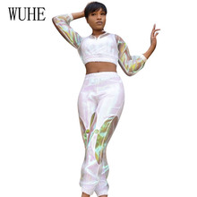 WUHE Womens Double-layer Perspective Sexy Sports Two Pieces Sets Long Sleeve Casual Jumpsuits High Quality Femme Streetwear