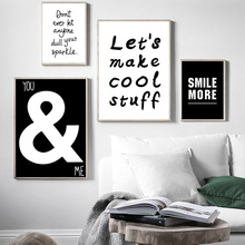 Black And White Wall Canvas Painting Quotes Poster Motivational Pictures For Living Room Decor Home