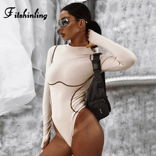 Fitshinling New Arrival Autumn Bodysuits Long Sleeve Striped Slim Sexy Bodysuit Women Fitness Mono Body Mujer Jumpsuits Female