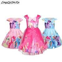 Filles poney robe dessin animé licorne Tutu fleur robes princesse vêtements imprimé petit dentelle poney Costume pour enfants fille 5606