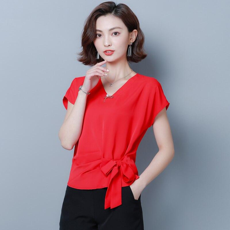 Korean Chiffon Blouses Women V-neck Solid Shirt Tops Plus Size Woman Short Sleeve Blouse Tops Blusas Mujer De Moda 2020 XXL/XXXL