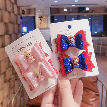 New 3inch Princess Glitter Hair Clips for Girls Fashion Multi-layered Bowknot Hair Accessories Barrettes for Kids Hair Bows цена 2017