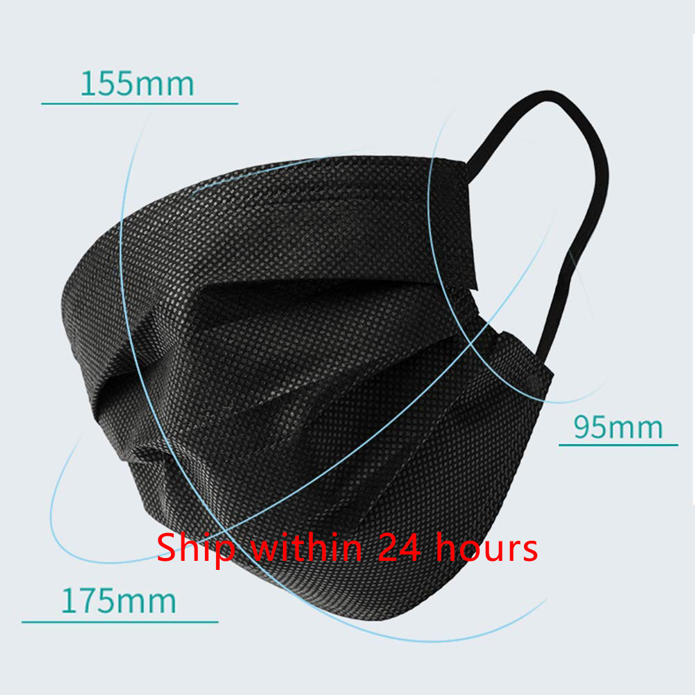 20/50/100pcs Black Mask Mouth 3 Layers Activated Bamboo Carbon Prevent Anti-Dust Bacteria Repeatability Civil Mouth Face Mask