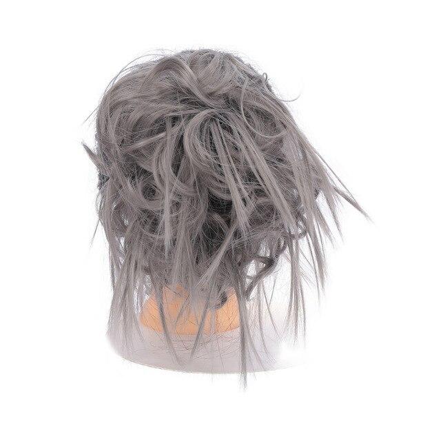 Lupu синтетические мягкие волосы кудрявый пучок женщин кудрявый Грязный серый коричневый цвет волос лента парик шиньон - Цвет: DIM GRAY