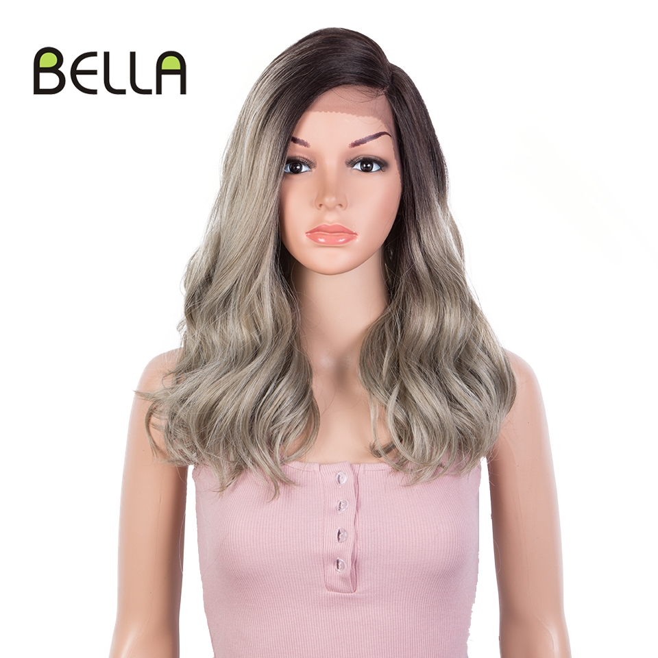 Bella Synthetic Lace Wig 20 Inch Wave Hair Ombre Blonde Red Synthetic Short Wig Cosplay 10 Colors Available Wig For Black Women