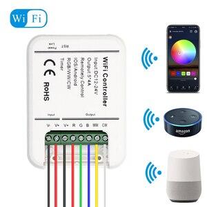 Image 1 - DC12V 24V Wifi LED בקר RGB/RGBW/RGBWW הרצועה 16 מיליון צבעים מוסיקה וטיימר מצב Wifi שליטה על ידי IOS/אנדרואיד Smartphone