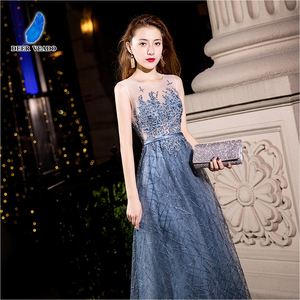 Image 4 - DEERVEADO MXN102 Sexy See Through Long Prom Dresses A Line O Neck Beading Occasion Party Dresses Prom Gown Vestido de Festa