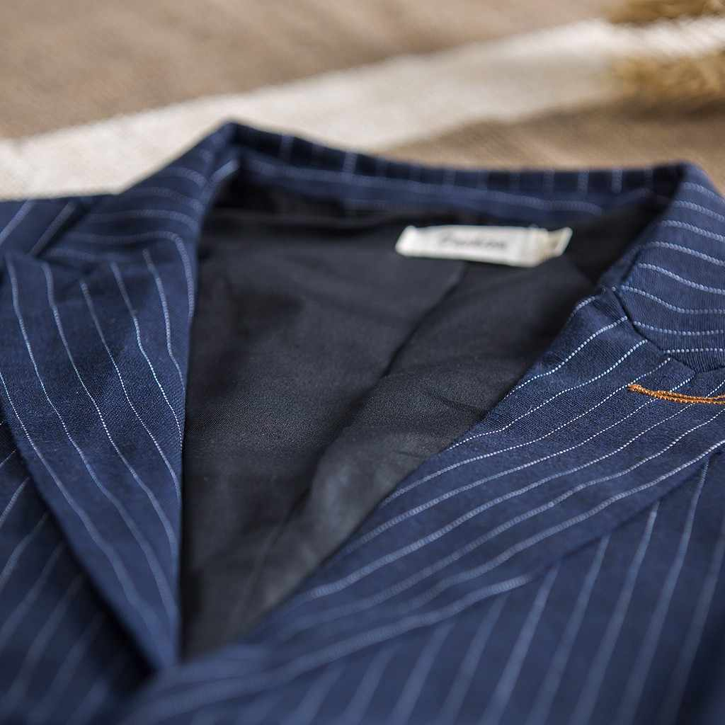 Moda de los hombres de algodón de lino de rayas de manga larga camisa Tops blusa Casual traje abrigos transpirables carga suelta casual chaquetas macho