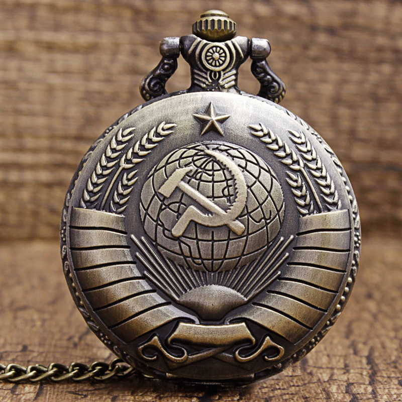 Vintage USSR Soviet Badges Sickle Hammer Pocket Watch Necklace Bronze Pendant Chain Clock CCCP Russia Emblem Communism Men Women