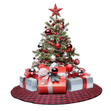 54inch Christmas Tree Skirt Plaid Xmas Decoration New Year Decorations Home Decorative