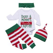 Get more info on the Cute Baby Girl Clothes 2019 New Newborn Infant Girls Boys Christmas Long Sleeve Letter Bodysuit Stripe Pant Outfits Set