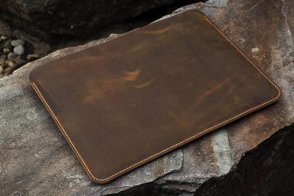Pochette pour ordinateur portable en cuir véritable fait à la main pour ordinateur portable 12 13 15 pouces/étui en cuir vieilli vintage-MACX05S