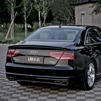 A8 Modified ABT Style 3PCS Fiberglass Primer Rear Trunk Luggage Compartment spoiler Car Wing For Audi A8 2010 2014