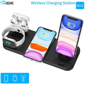 Image 1 - 6 In 1 15W Wireless Charger Pad Qi Induction Fast Charging Holder for Apple Watch 5 4 3 2 1 For Airpods Pro IPhone 11 XS XR X 8