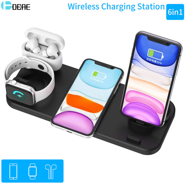 6 In 1 15W Wireless Charger Pad Qi Induction Fast Charging Holder for Apple Watch 5 4 3 2 1 For Airpods Pro IPhone 11 XS XR X 8