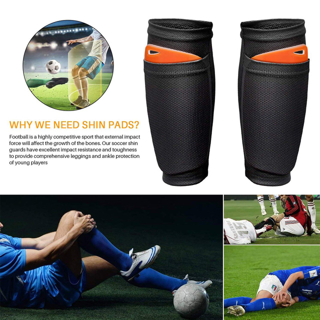 REXCHI 1 Pair Soccer Football Shin Guard Teens Socks Pads Professional Sports Shields Legging Shinguards Sleeves Protective Gear