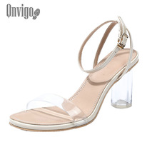 Qnvigo High-heeled Sandals Summer New Sexy Bridal Shoes Clear Silver Beige Platform Heel 7cm Elegant Sandals 2020 New clear panel two part heeled sandals