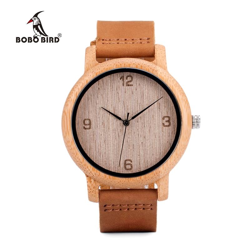 Мужские часы BOBO BIRD с бамбуковым ремешком, мужские и женские кварцевые наручные часы с кожаным ремешком, деревянные часы от лучшего бренда, подарок, Прямая поставка, 2020