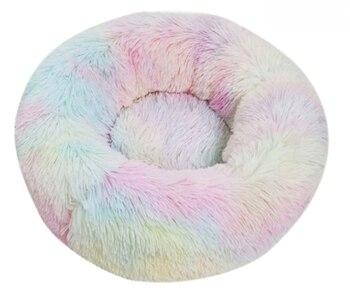 Fluffy Pluche Donut hondenbed - Kleur Regenboog