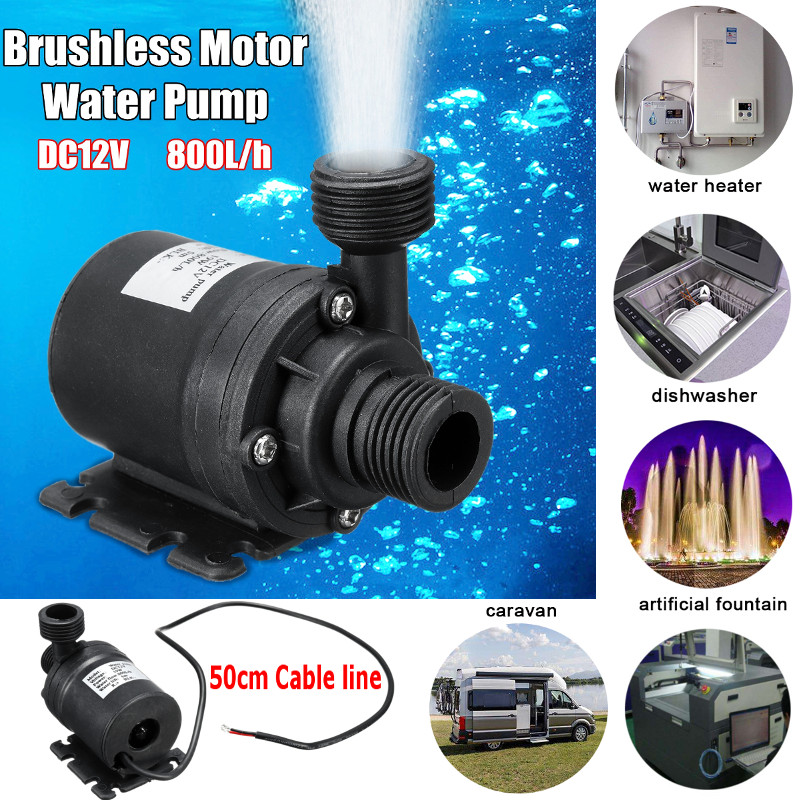 DC 12V 5M 800L/H Portable Mini Brushless Motor Ultra-quiet Submersible Water Pump For Cooling System Fountains Heater