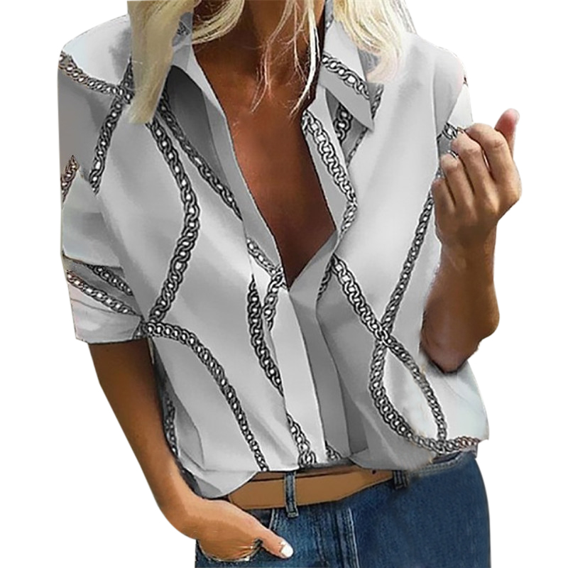 2020 Spring Women New Print Blouse Lady Office Style Casual Long Sleeve Loose V-neck Shirt Color Dot Blusas Mujer De Moda