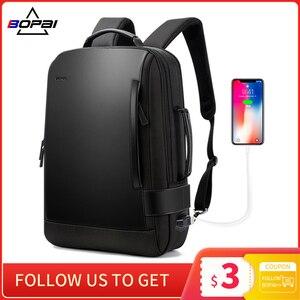 Image 1 - BOPAI marka büyüt sırt çantası USB harici şarj 15.6 inç Laptop sırt çantası omuzlar erkekler Anti Theft su geçirmez seyahat sırt çantası