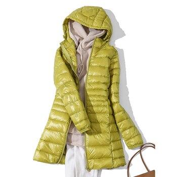 2020 New Winter Jackets Women White Duck Down Long Coat Female Hooded Padded Parkas Ultra Light Portable Down Coats for Women 1