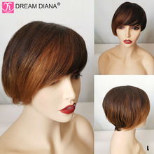 Bob-Wigs Short Human-Hair Cheap 150-Density Remy Straight Ombre Brazilian 8-Dreamdiana