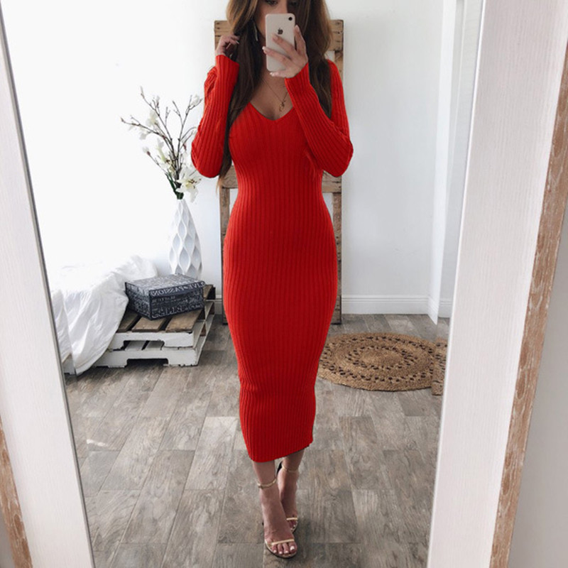Fashion 2020 <font><b>Autumn</b></font> <font><b>Winter</b></font> <font><b>Women</b></font> <font><b>Dress</b></font> <font><b>Sexy</b></font> V Neck Long Sleeve Stretchy Midi Dreees Bodycon <font><b>Casual</b></font> Party Knitted <font><b>Pencil</b></font> <font><b>Dress</b></font> image