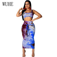 WUHE Retro Two Pieces Sets Women Summer Boho Beach Maxi Dress Sexy O Neck Vintage Print Long Dresses Casual Sundress Vestidos