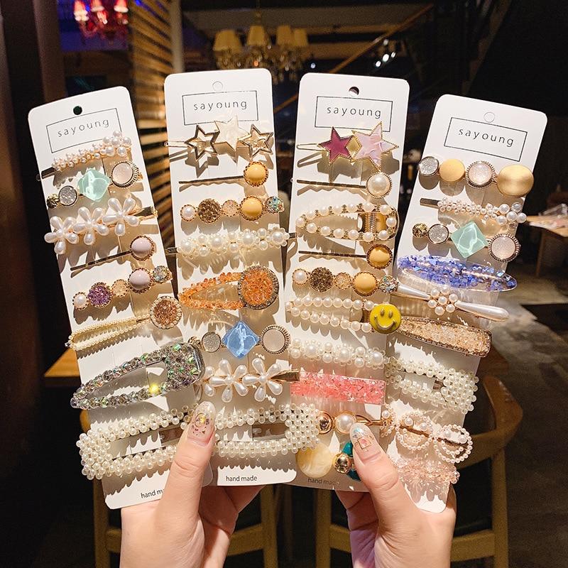 1Set Korean Fashion Pearl Hairpins Women Girls Elegant Hair Clips Pin Barrettes Accessories Hairclip Hairgrip Headdress Headwear