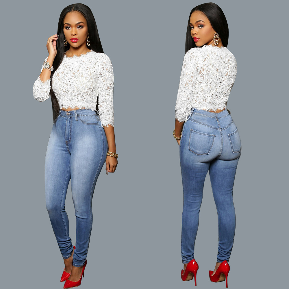Womens Sexy Butt Lift Jeans Skinny High Waisted Denim Pencil Pants Solid Blue Vaqueros Mujer Mom Jean Trousers Feet Pants Female