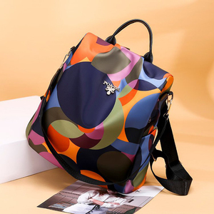 Image 5 - Simple style ladies backpack anti theft Oxford cloth tarpaulin stitching sequins juvenile college bag purse Bagpack Mochila