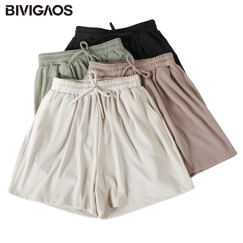 BIVIGAOS Summer New Sweet Shorts Women Drawstring Casual Shorts Plus Size Loose Wide Leg Shorts Ladies Lungewear 1