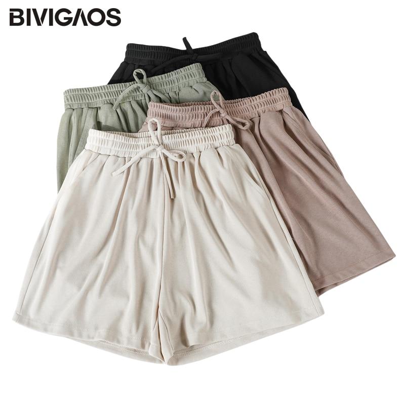 BIVIGAOS Summer New Sweet Shorts Women Drawstring Casual Shorts Plus Size Loose Wide Leg Shorts Ladies Lungewear 1