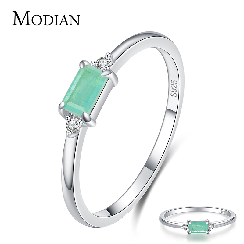 Modian Charm Luxury Real 925 Stelring Silver Green Tourmaline Fashion Finger Rings For Women Fine Jewelry Accessories New Bijoux